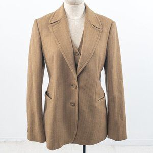 Vintage M French Cashmere 2pc Set Blazer Vest Tan